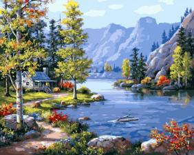 Картина по номерам 40х50 . Домик в горах.