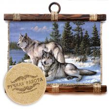 Панно свиток 32х33 см Два волка