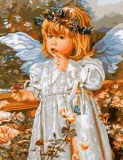 Картина по номерам 40х50 Ангел с венком