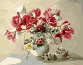 """Картины по номерам 40Х50  """" Тюльпаны в белой вазе"""""""