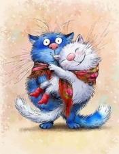 Картины по номерам  40*50 Синие коты (худ.Ирины Зенюк)