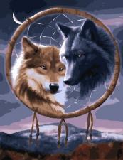 """Картина по номерам 40*50  Ловец снов """"пара волков"""""""