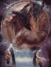 """Картина по номерам 40х50 Ловец снов """"Лошади"""""""