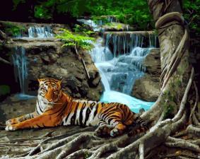 Картина по номерам 40*50 Тигр у водопада