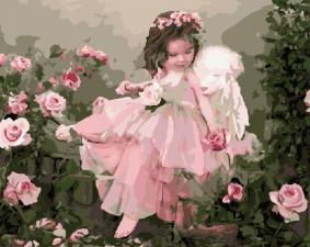 "Картина по номерам  40х50 "" Розовый ангел""худ. Лиза Джейн"