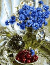 """Картина по номерам 40Х50 """"Натюрморт с васильками и ягодами"""""""