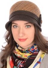 Шляпа Д-562/1А Бежево-коричневая/шоколад