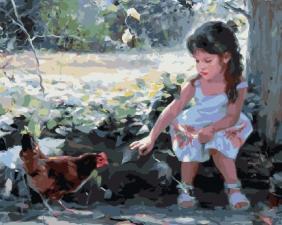 Картина по номерам 40Х50 Девочка и курица