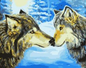 Картина по номерам 40Х50 Волчья пара.