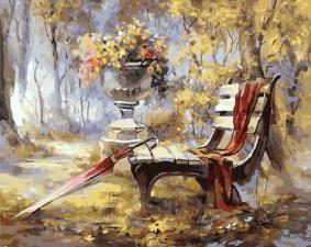 Картина по номера 40Х50 Осень в парке.