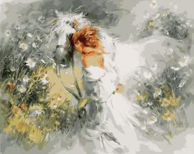 Картина по номерам 40Х50 Девушка с белой лошадью.