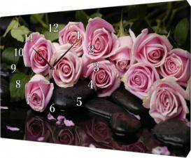 Часы на холсте 30Х40 Розы.