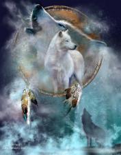 Картина по номерам 40Х50 Ловец снов -Белые волки.