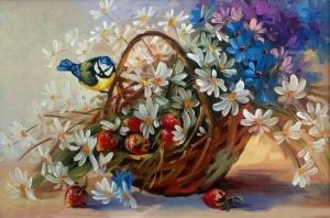 Картина по номерам 40Х50 Птички в ромашках.