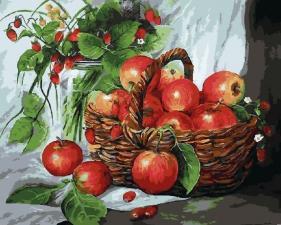 Картина по номерам 40Х50  Корзина яблок.