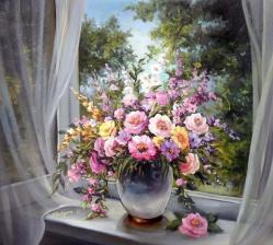 Картина по номерам 40Х50 Букет на окне.