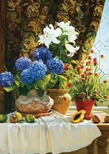 Картина по номерам 40Х50см Натюрморт с гортензиями.