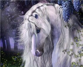 Набор для вышивки крестом 40Х50см  Белая лошадь.
