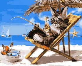 Картина по номерам 40Х50см Кот на отдыхе.