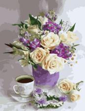 Картина по номерам 40Х50  Нежные розы.