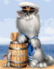 Картина по номерам 40х50 Кот моряк