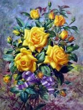 Картина по номерам Желтые розы