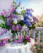 Картина по номерам 40*50 Сирень в стеклянной вазе худ.Дарья Чачева