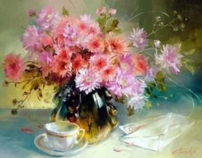 Картина по номерам Розовые цветы и чашка