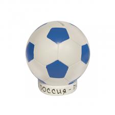 Копилка Мяч 12 см бело-синяя
