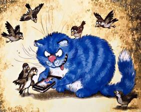 """Картина по номерам 40х50 """"Синий кот (худ. Ирина Зенюк)"""""""