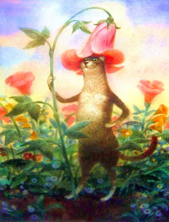 "Картина по номерам ""Кот с цветами"" худ. Владимира ..."