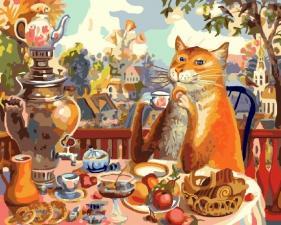 """Картины по номерам"""" Чаепитие"""" коты худ. В.Румянцева"""