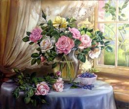 """Картина по номерам 40Х50 """" Букет роз и чашка с черникой"""""""