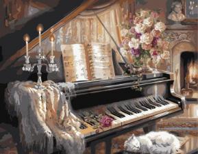 """Картина по номерам 40Х50 """" Кошка у рояля"""""""
