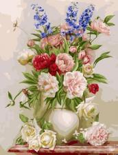 картина по номерам 40Х50 Букет в белой вазе.
