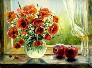 Картина по номерам 40Х50 Маки и яблоки.
