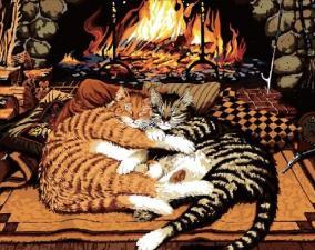 Картина по номерам 40Х50 Коты у камина.