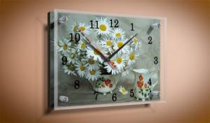 Часы под стеклом 25Х35см Ромашки.