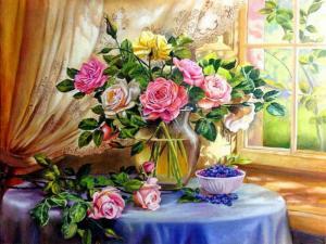 Картина 40Х50 Букет роз с черникой.