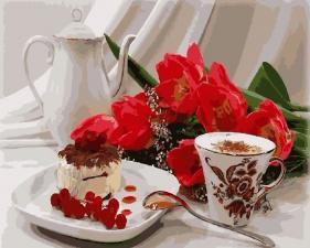 Картина по номерам 40Х50 Сладкий завтрак.