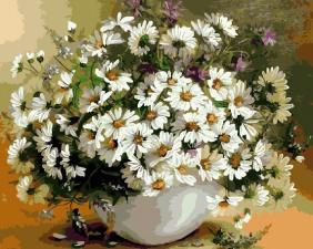 Картина по номерам 40Х50 Ромашки в белой вазе.