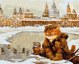 Картина по номерам 40х50 Зимняя рыбалка.