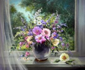 "картина по номерам  40Х50 ""Цветы в вазе"""