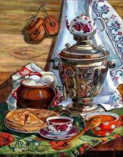 Картина по номерам 40Х50 Самовар на столе.