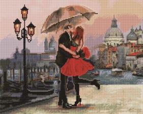 Алмазная мозаика 40Х50 см Поцелуй под зонтом.