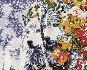 Алмазная мозаика 40Х50см Волки в лесу.