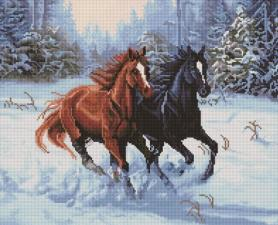 Алмазная мозаика 40Х50см Пара лошадей.