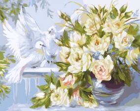 Картина по номерам 40Х50см Цветы и голуби.