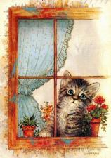Набор для вышивки крестом 20Х25см. Котенок в окне.