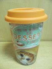 """Кружка-термос """"Кошечка-dessert"""" с двойными фарфоровыми стенками и силиконовой крышкой"""